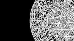 Struttura astratta del collegamento a forma di in sfera, struttura futuristica del cavo di tecnologia, 3d digitale geometrico per illustrazione di stock