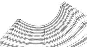 Struttura astratta del wireframe della costruzione 3D Costruzione dell'illustrazione Immagine Stock Libera da Diritti