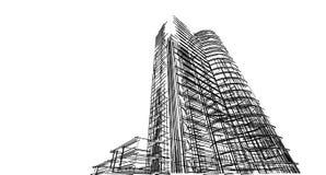 Struttura astratta del wireframe della costruzione 3D Costruzione dell'illustrazione Immagini Stock Libere da Diritti