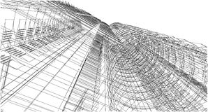 Struttura astratta del wireframe della costruzione 3D Costruzione dell'illustrazione Fotografia Stock