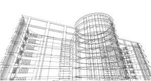 Struttura astratta del wireframe della costruzione 3D Costruzione dell'illustrazione Fotografie Stock