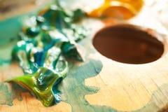 Struttura astratta della pittura ad olio su tela Immagini Stock Libere da Diritti