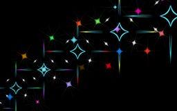 Struttura astratta di bei fuochi d'artificio luminosi d'ardore insoliti dei saluti delle esplosioni e stelle e rombi dei quadrati illustrazione di stock