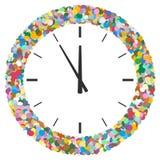 Struttura astratta rotonda variopinta formata dei coriandoli con l'orologio Sym illustrazione di stock