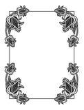 Struttura astratta verticale in bianco e nero con i fiori decorativi Fotografia Stock