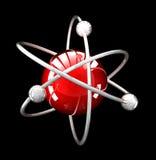Struttura atomica riflettente rossa sul nero illustrazione di stock