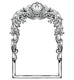 Struttura barrocco imperiale d'annata dello specchio Ornamenti complessi ricchi di lusso francesi di vettore Decorazione reale vi Immagine Stock