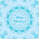Struttura bianca dei fiocchi di neve del cerchio di Natale sul blu Illustrazione Vettoriale