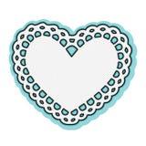 Struttura bianca del centrino del cuore del biglietto di S. Valentino Immagini Stock Libere da Diritti