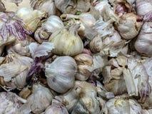 Struttura bianca del mucchio dell'aglio Aglio fresco sulla foto del primo piano della tavola del mercato Immagine sana della spez immagini stock libere da diritti