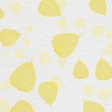Struttura bianca della parete con la pittura gialla della foglia Immagini Stock Libere da Diritti