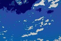 Struttura bianca e blu del fondo Mappa astratta con litorale del nord, mare, oceano, ghiaccio, montagne, nuvole royalty illustrazione gratis