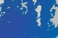 Struttura bianca e blu del fondo Mappa astratta con litorale del nord, mare, oceano, ghiaccio, montagne, nuvole illustrazione di stock