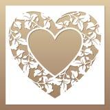 Struttura bianca Openwork con cuore e le foglie Fotografia Stock