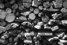Struttura in bianco e nero della legna da ardere Fotografia Stock Libera da Diritti