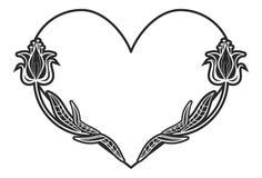 Struttura in bianco e nero in forma di cuore con le siluette floreali Fotografia Stock