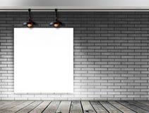 Struttura in bianco sul muro di mattoni per il messaggio informativo Immagine Stock Libera da Diritti