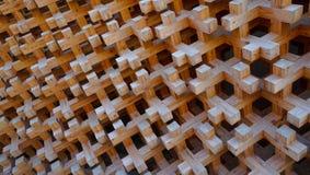 Struttura a blocchi di legno della facciata della parete immagine stock