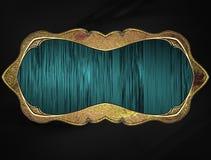 Struttura blu con l'orlo dell'oro Mascherina per il disegno copi lo spazio per l'opuscolo dell'annuncio o l'invito di annuncio, f Immagine Stock
