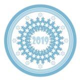 Struttura blu dei fiocchi di neve del cerchio di Natale su bianco Illustrazione di Stock