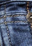 Struttura blu del denim con le cuciture Fotografia Stock Libera da Diritti