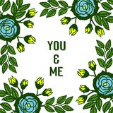 Struttura blu del fiore di varia bellezza dell'illustrazione di vettore con forma della carta voi e me royalty illustrazione gratis