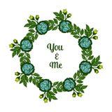 Struttura blu del fiore di varia bellezza dell'illustrazione di vettore con forma della carta voi e me illustrazione di stock