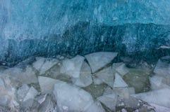 Struttura blu del ghiaccio, fondo di inverno, struttura della superficie del ghiaccio Fotografia Stock Libera da Diritti