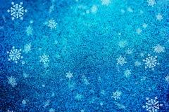 Struttura blu della neve del fondo di Natale, astrazione, fiocchi di neve immagini stock libere da diritti