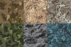Struttura cachi del cammuffamento Foresta del tessuto dell'esercito ed insieme senza cuciture di strutture di vettore del modello illustrazione di stock