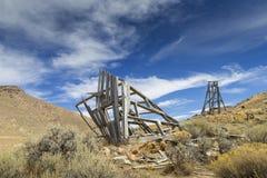 Struttura capa della vecchia gru di estrazione mineraria Fotografie Stock
