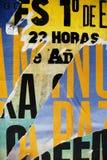 Struttura casuale di tipografia della carta del collage del fondo sulla parete Immagine Stock Libera da Diritti