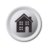 Struttura circolare di gradazione di grigio con la casa Immagine Stock