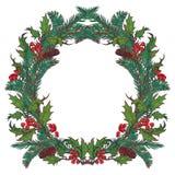 Struttura circolare ornamentale di Natale Rami dell'abete e dell'agrifoglio con le bacche ed i coni delle foglie Il Babbo Natale  Immagini Stock