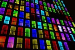 Struttura colorata delle finestre Fondo della luce al neon Immagine Stock