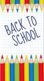 Struttura colorata delle matite per testo Di nuovo alla struttura della scuola, invito Illustrazione di vettore Fotografia Stock Libera da Diritti