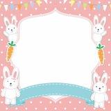 Struttura/confine svegli con coniglio/Bunny Vector adorabili Immagini Stock Libere da Diritti