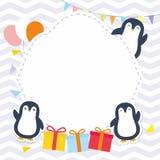 Struttura/confine svegli con il vettore adorabile del pinguino Fotografia Stock Libera da Diritti