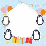 Struttura/confine svegli con il vettore adorabile del pinguino Fotografia Stock