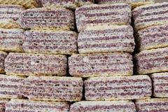 Struttura cremosa del biscotto del wafer I wafer napoletani sono un biscotto del panino della crema del cioccolato e del wafer Wa fotografie stock