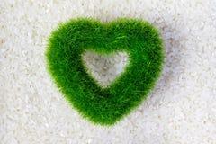Struttura cruda del riso bianco con il cuore verde di eco, concetto di prodotti biologici fotografie stock
