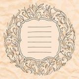 Struttura d'annata con le foglie Invito per la cerimonia nuziale illustrazione di stock