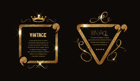 Struttura d'annata dell'oro brillante con i flourishes e le citazioni Immagine Stock