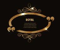 Struttura d'annata dell'oro con i flourishes e le citazioni Fotografia Stock