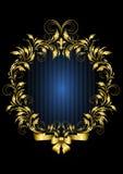 Struttura d'annata dell'oro con il fondo delle bande blu Fotografia Stock Libera da Diritti