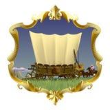 Struttura d'annata dell'oro con il vagone coperto di selvaggi West in prai americano illustrazione di stock