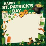 Struttura d'annata di festa di giorno della st Patricks per progettazione del testo Illustrazione di vettore Fotografia Stock Libera da Diritti