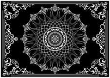 Struttura d'annata di lusso con l'ornamento bianco su fondo nero Fotografia Stock