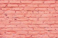 Struttura d'annata dipinta del muro di mattoni di lerciume, colore di corallo, fondo urbano d'avanguardia Struttura orizzontale P immagine stock libera da diritti