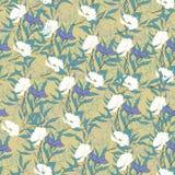 Struttura d'annata floreale per tessuto Ornamento dei fiori e delle foglie su un fondo marrone ornamento naturale elegante Strutt royalty illustrazione gratis